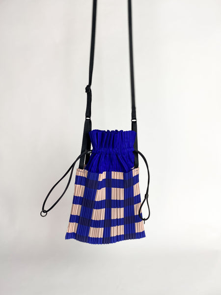 Small Square Pleats Bag - Blue Block Check