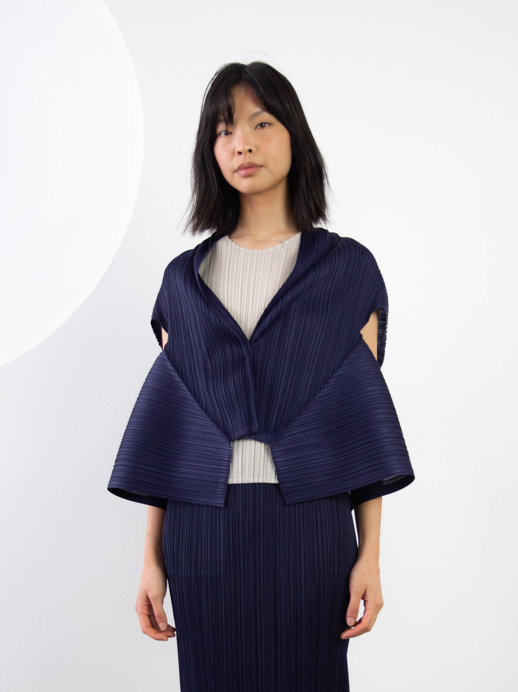 Com Moto Asymmetrical Short Sleeve Cardigan - Navy