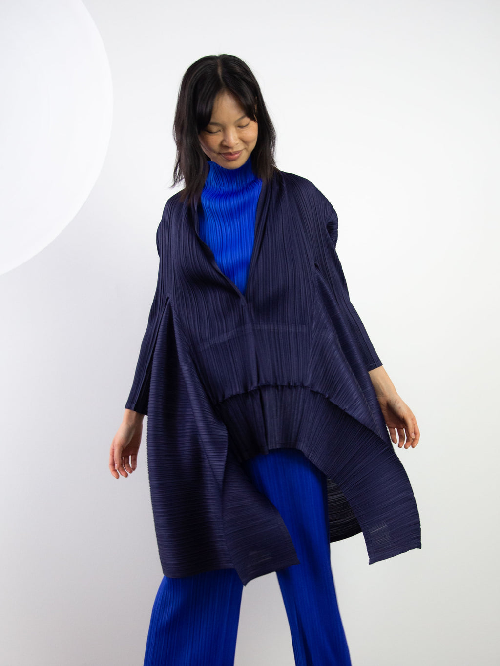 Com Moto Asymmetrical Bounce Coat - Navy