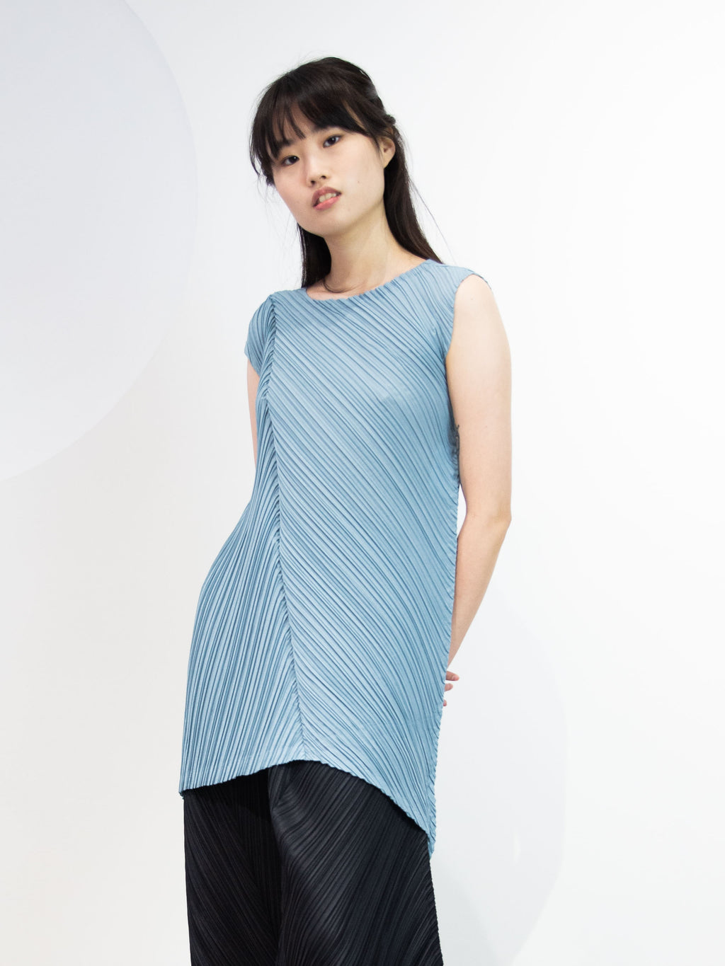 Crispy Pleats Tunic - Steel Blue