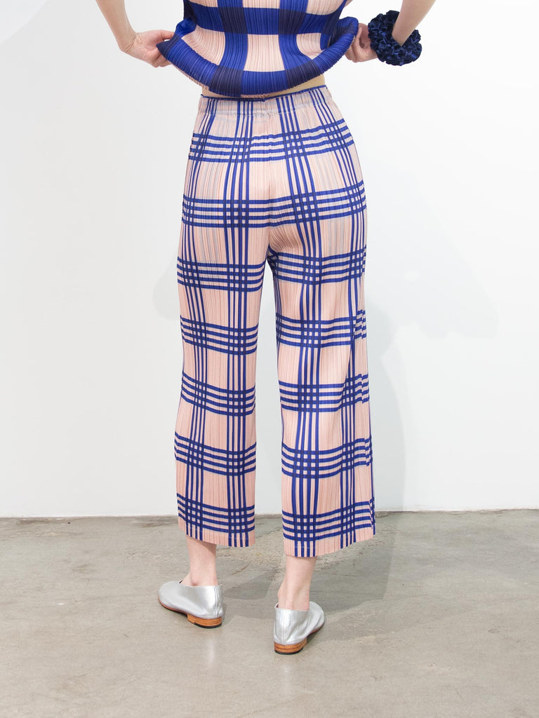 Check Wide Pants - Blue Glen