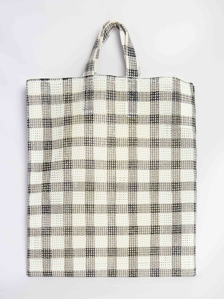 Grid Check Tote Bag - Black