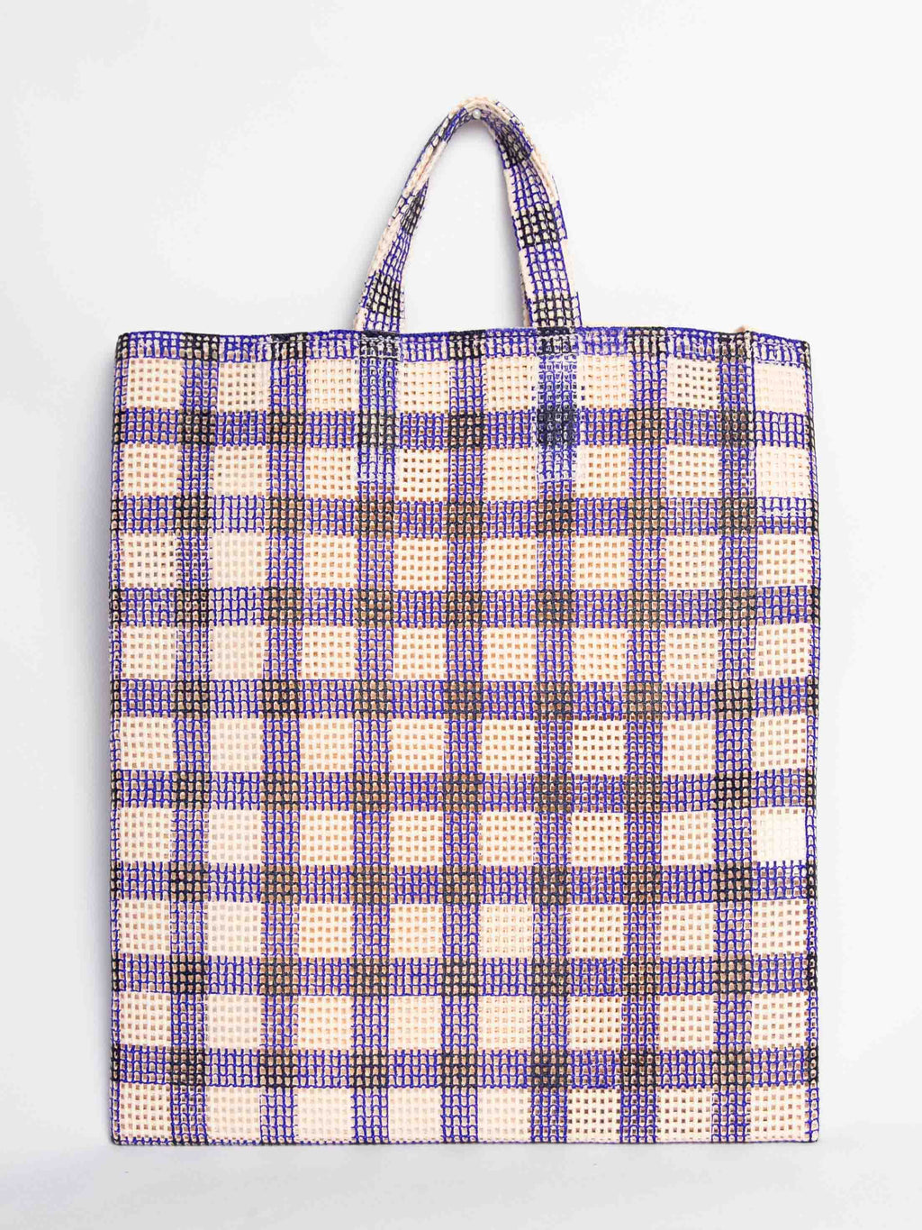 Grid Check Tote Bag - Blue
