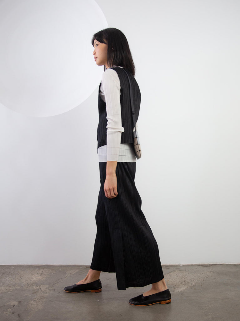 Thicker Bottoms II Pants Wide Pants With Side Slits - Black