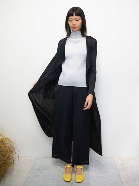 PLEATS PLEASE ISSEY MIYAKE Basics Long Coat - Black