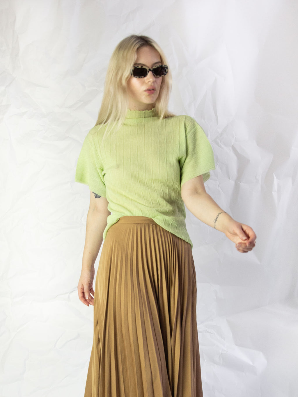 Vent Textured Top - Pale Green