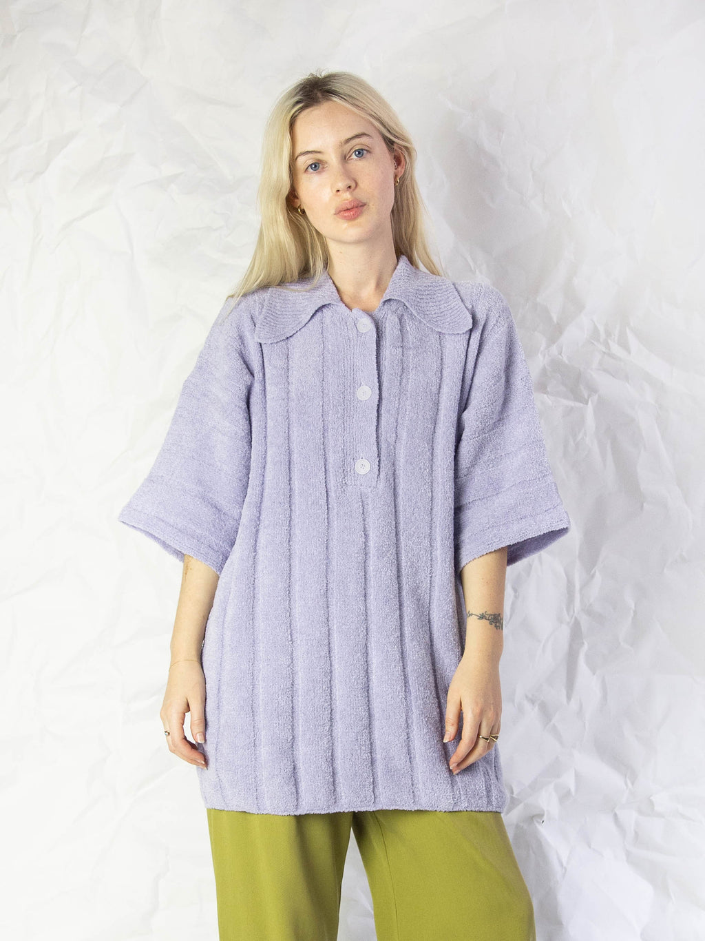 Rosee Oversized Ribbed Polo Sweater - Lavander