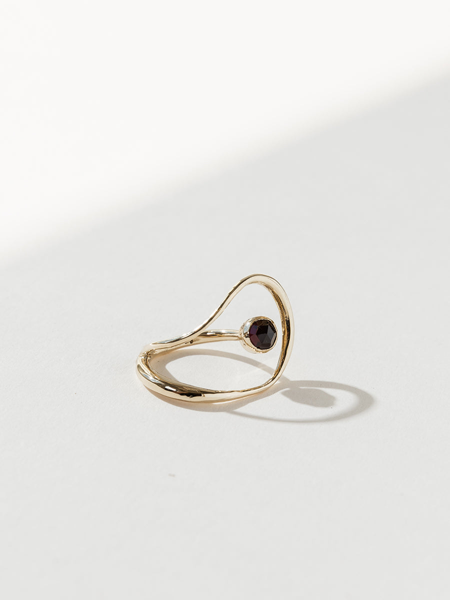 Saturn Ring - Bronze and Garnet