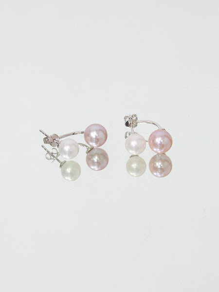 SPHERE Pink and White Freshwater Pearl Double Earring - White Gold