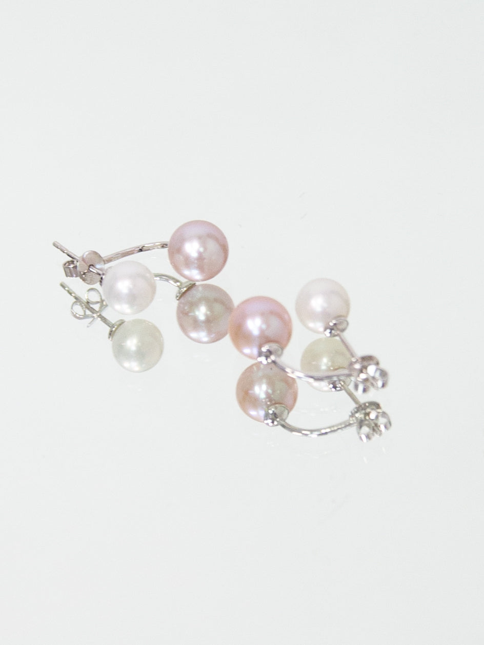 Pink and White Freshwater Pearl Double Earring - White Gold