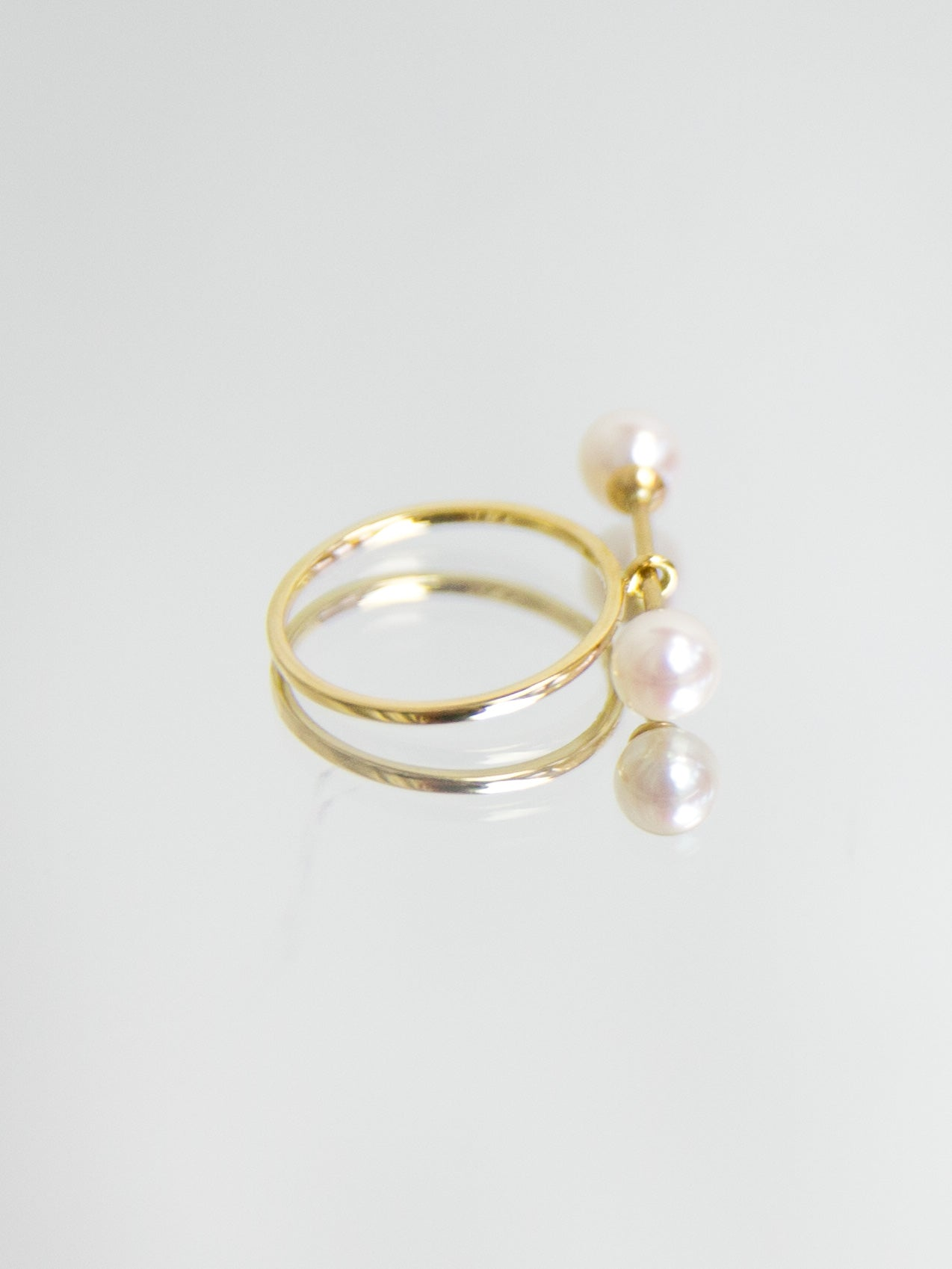 SPHERE Double Pearl Bar Ring - Yellow Gold