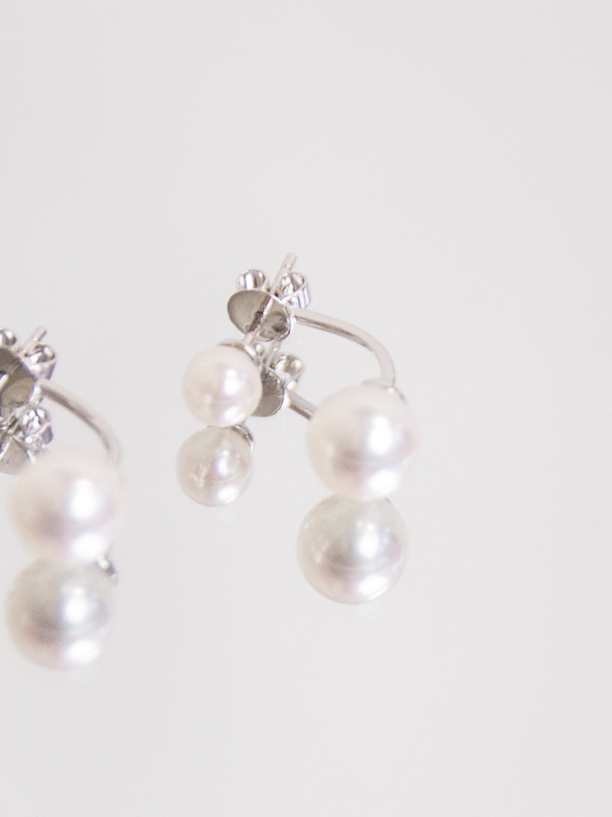 Double Pearl Earring - White Gold