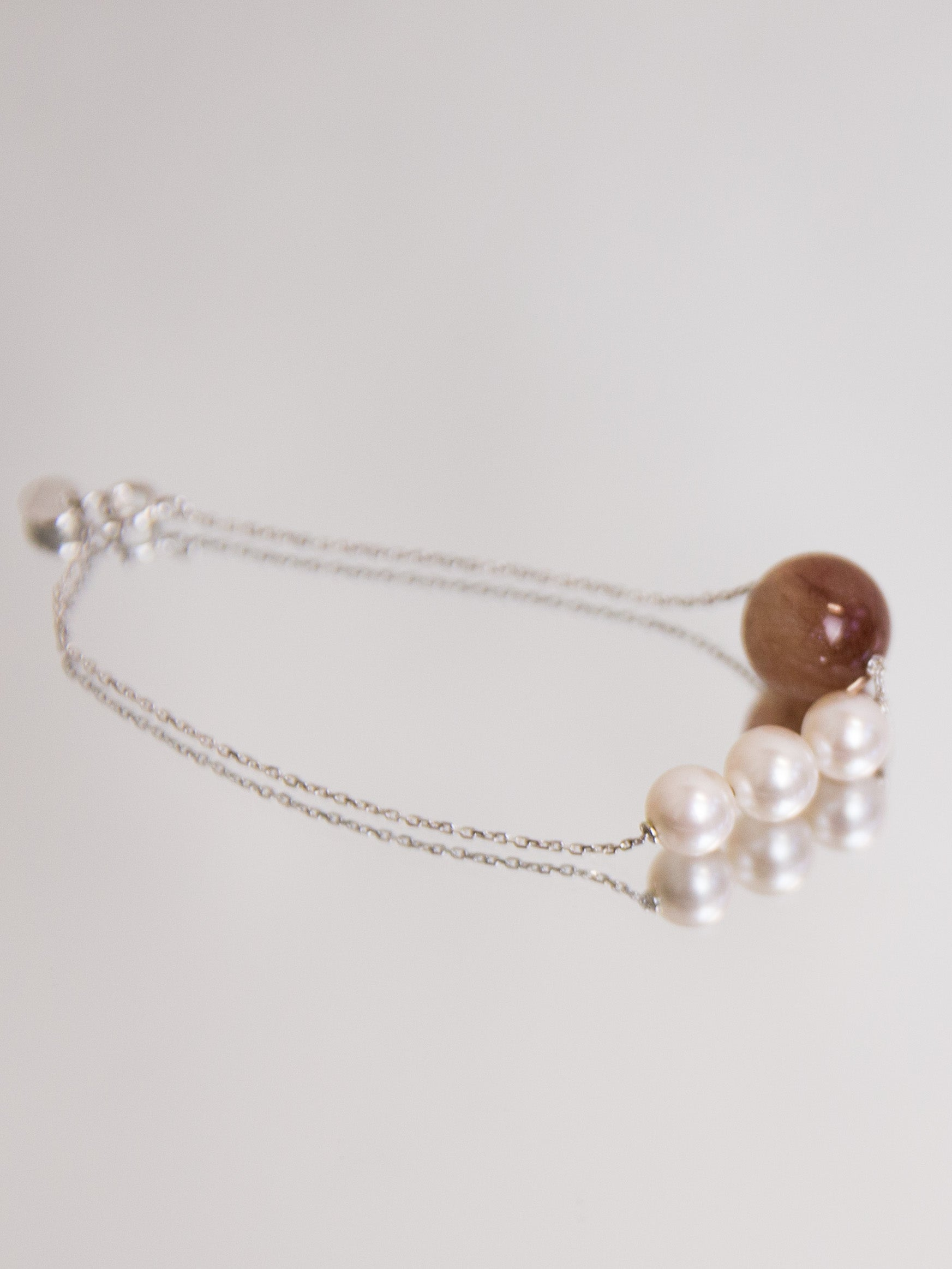 Trio Pearl & Red Rutilated Quartz Bracelet - White Gold