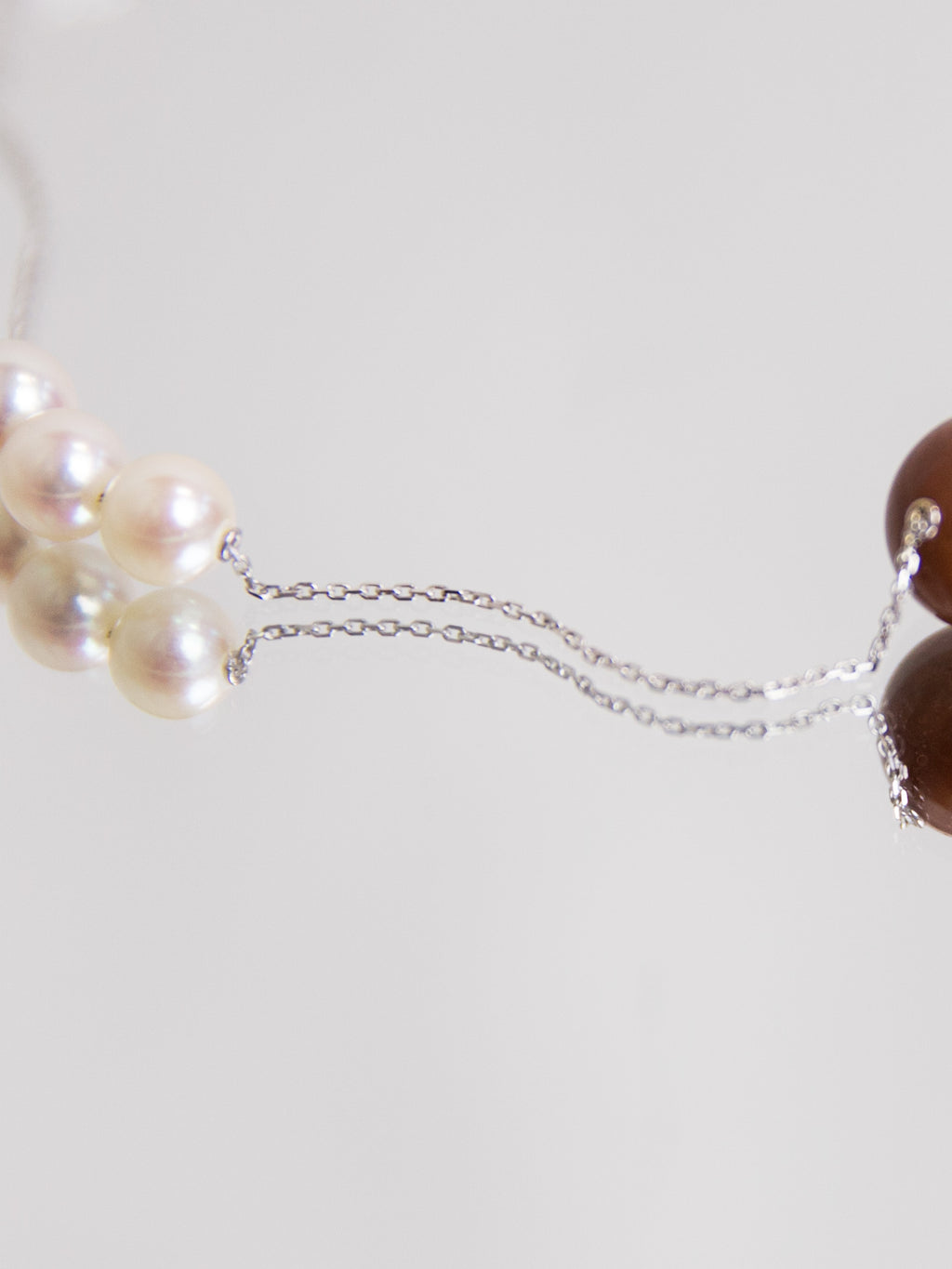 SPHERE Trio Akoya and MoonstoneNecklace - White Gold