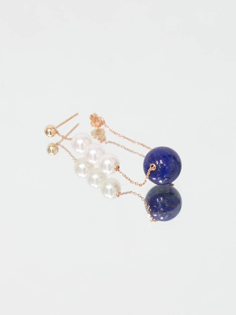 Winter Earrings Pair - Lapis Lazuli and Rose Gold