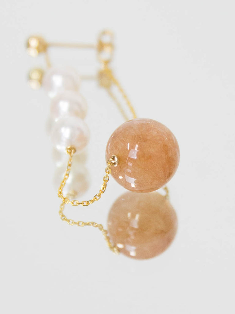 Winter Earring Single - Orange Quartz and Yellow Gold