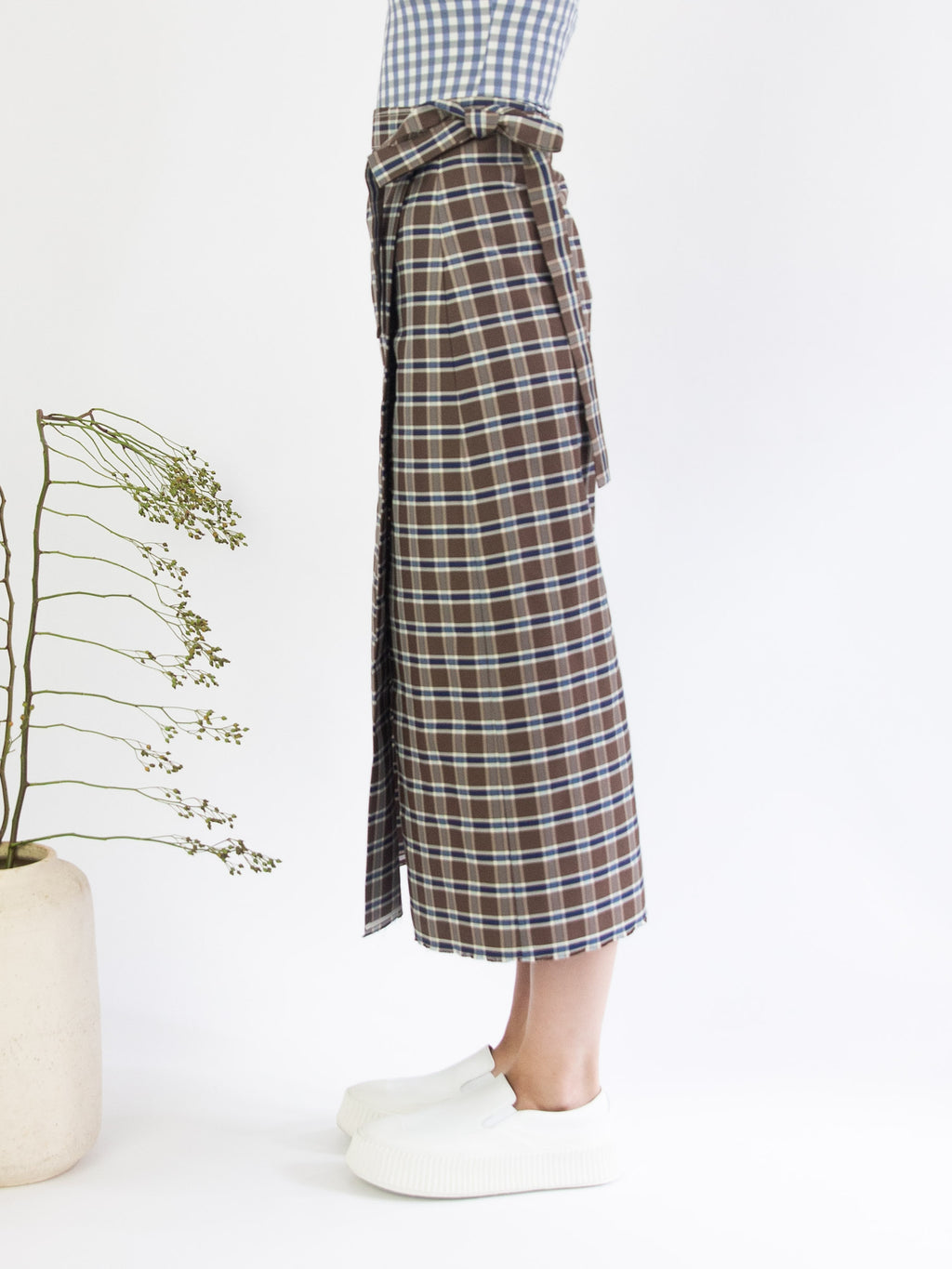 Long Pareo Skirt - Brown & Blue Check
