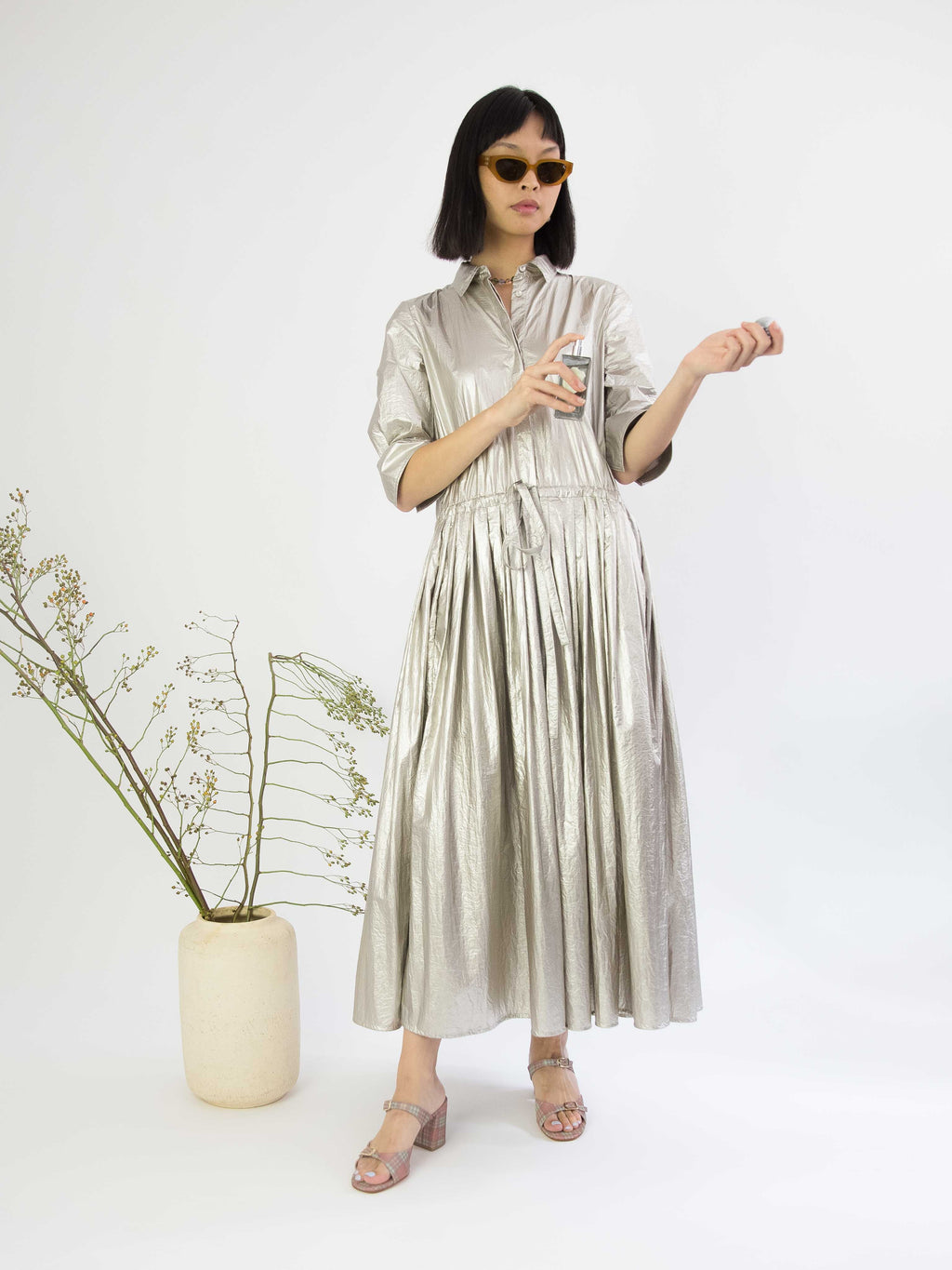 Silver Coated Nylon Button Down Dress