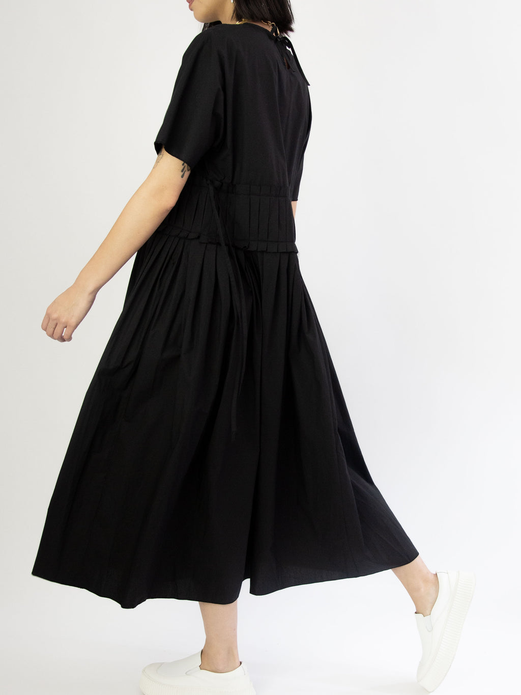 Gathered Waist Dress - Black