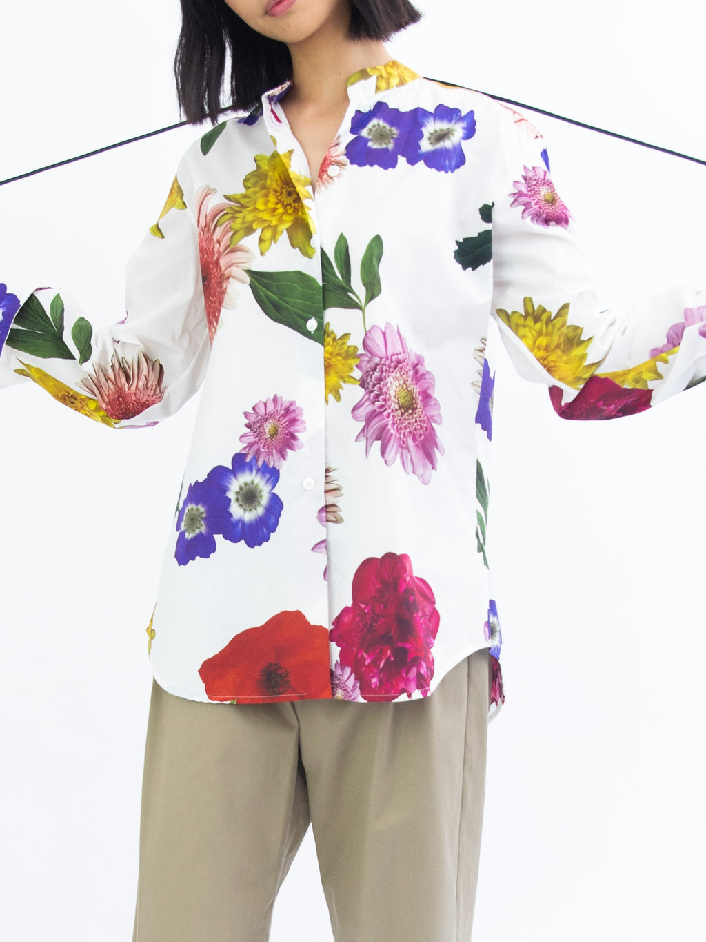 Oversized Printed Floral Shirt