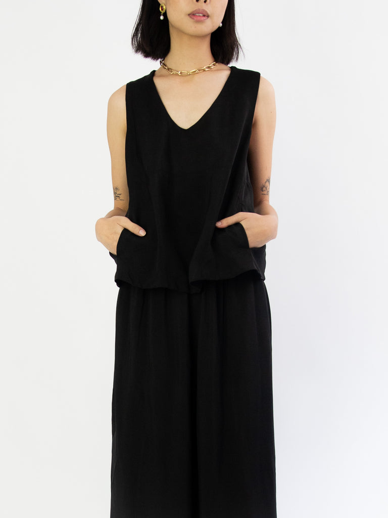 Viscose Twill Top with Pocket Detail - Black
