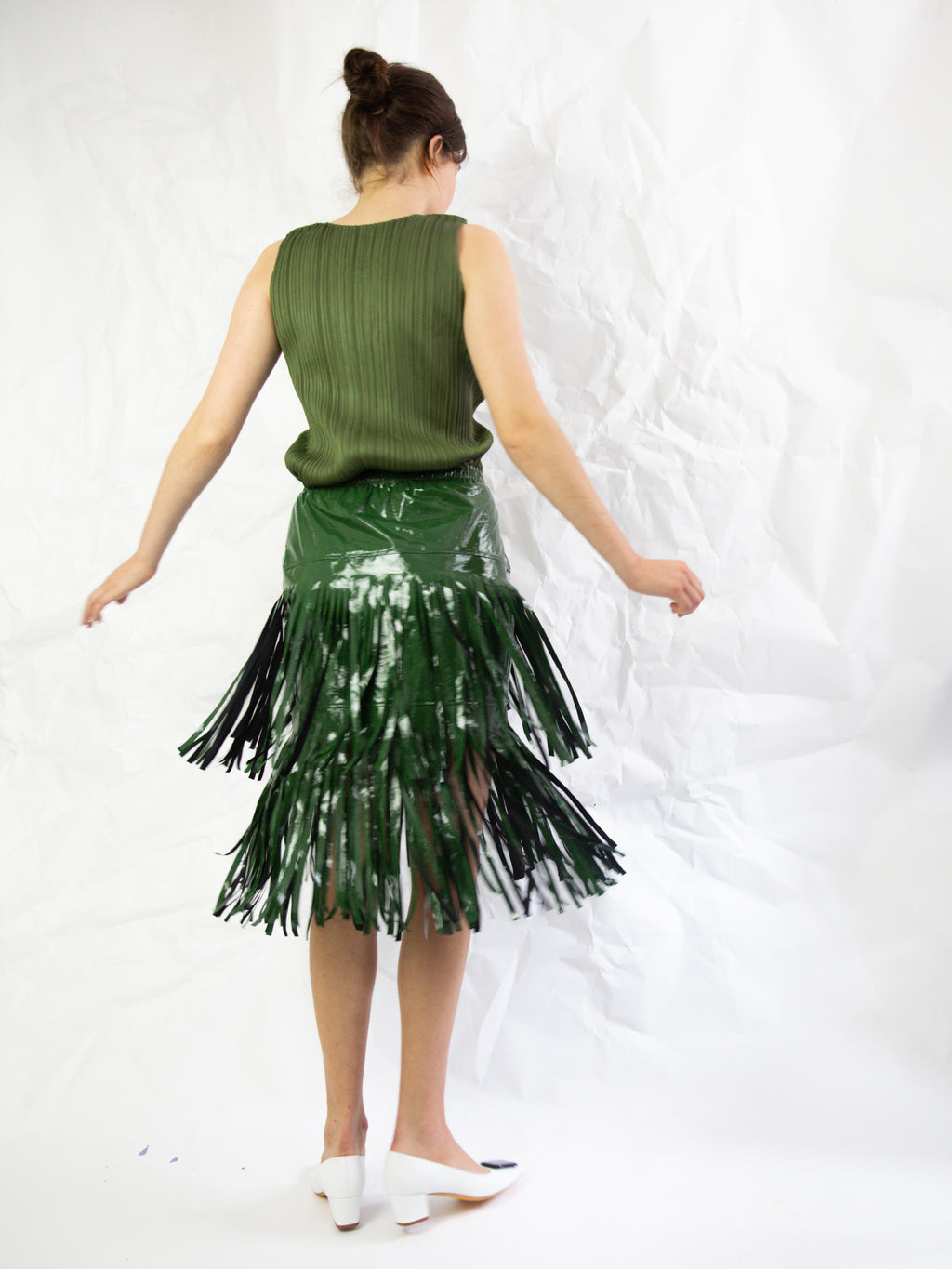 Vinyl Fringed Skirt