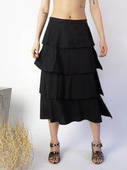 Flounced Skirt - Black
