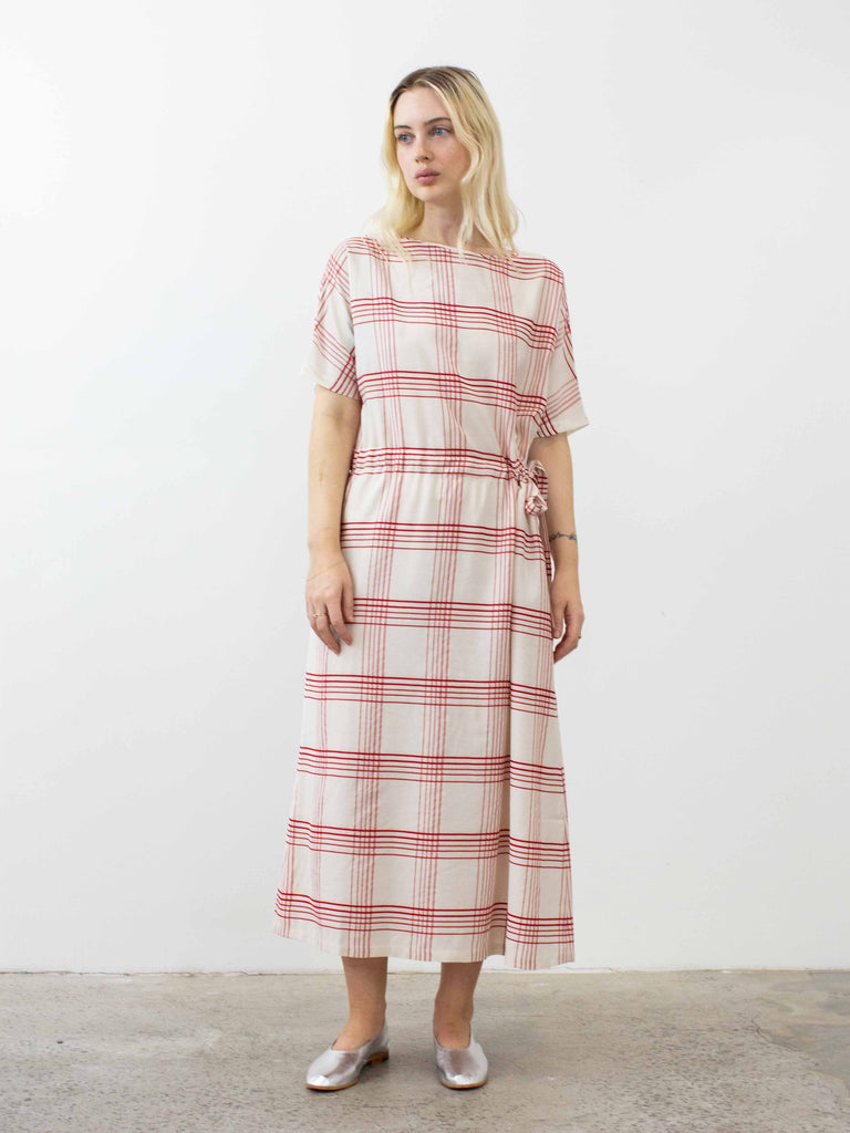 Boat Neck Dress - Ecru and Red