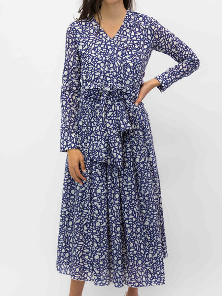 SARA LANZI Wrap Dress - Snakestone Blue