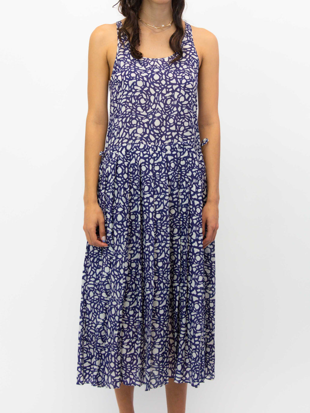 SARA LANZI Tank Top Pleated Dress - Snakestone Blue
