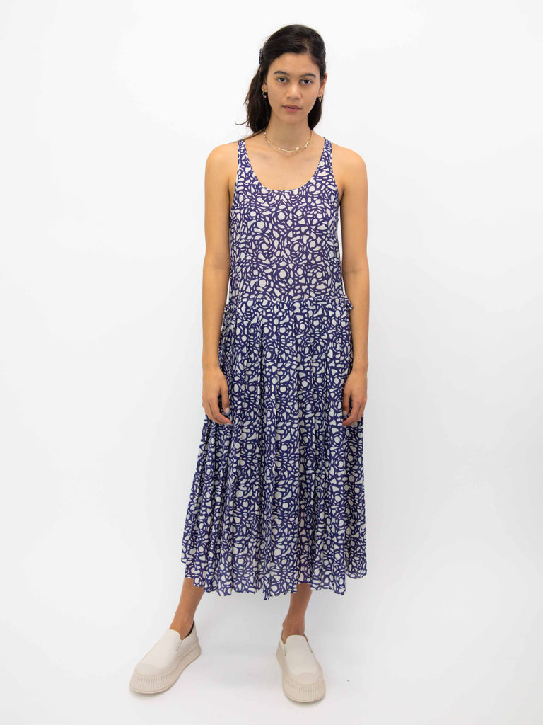 Tank Top Pleated Dress - Snakestone Blue