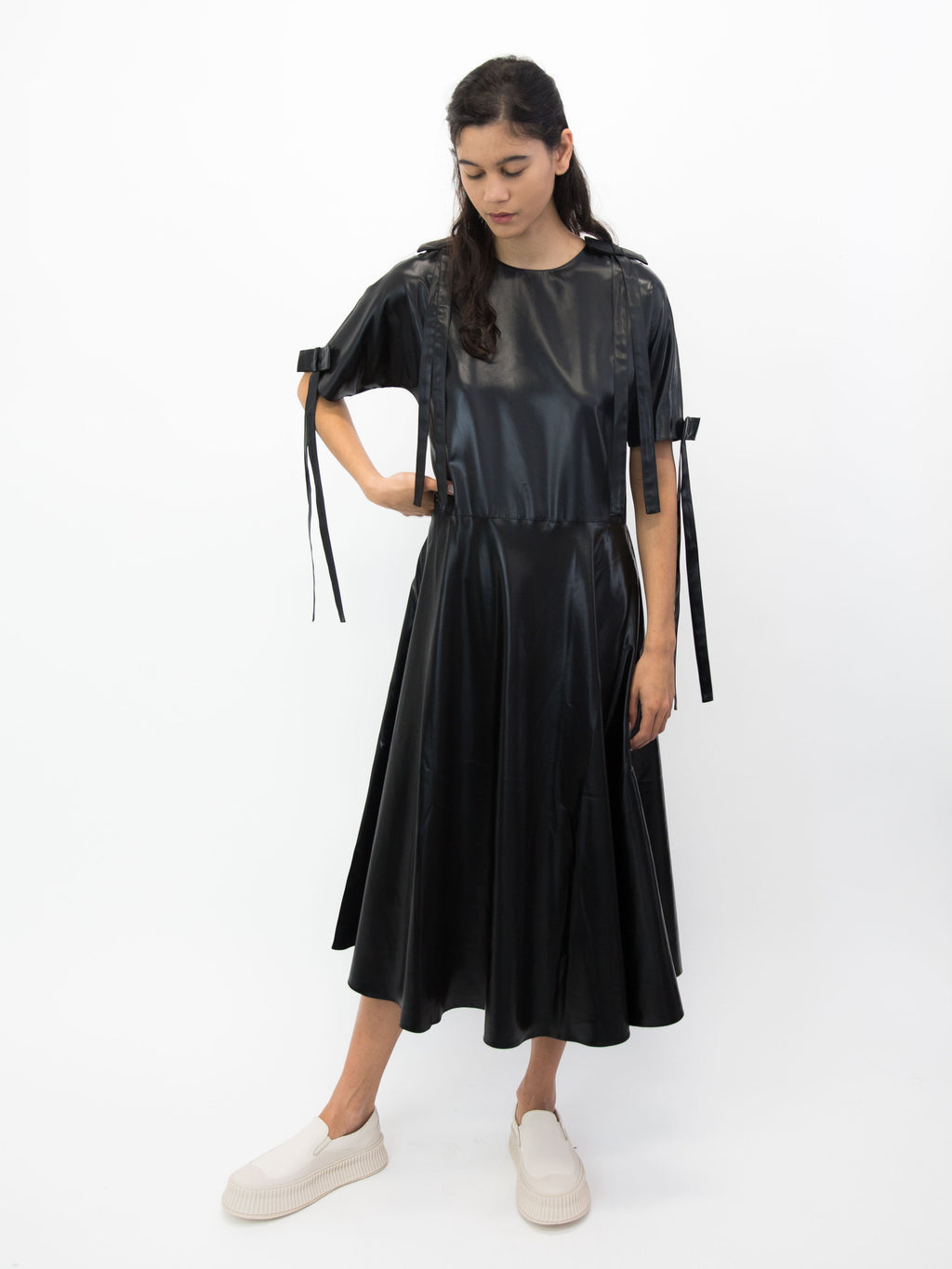 SARA LANZI Flared Bow Dress - Black