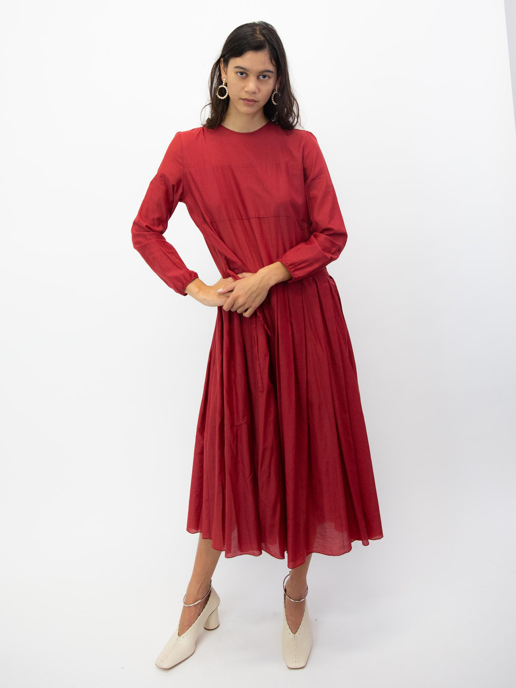 SARA LANZI Pleated Dress - Red