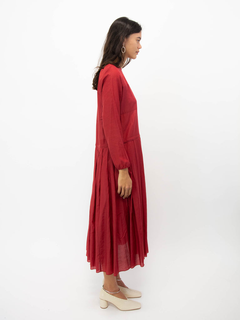 Pleated Dress - Red
