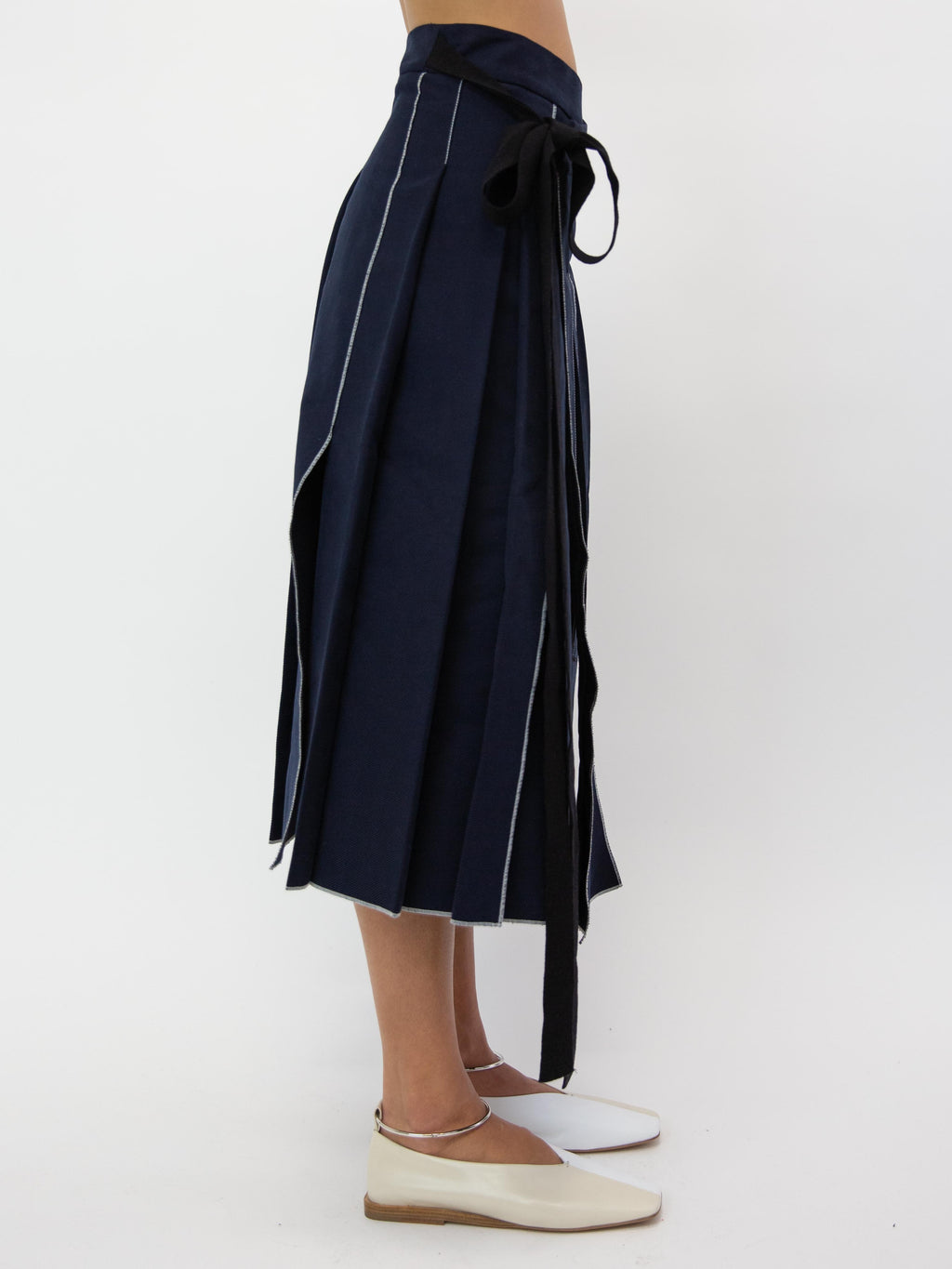 SARA LANZI Pleated Pareo Skirt - Dark Blue