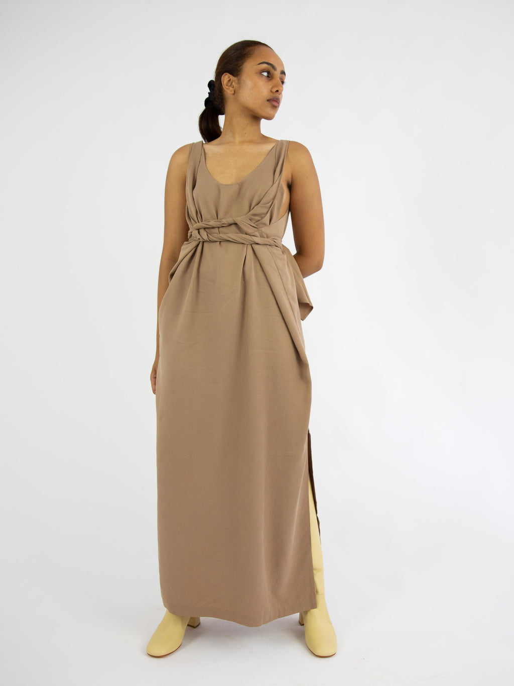 Tie Dress - Camel