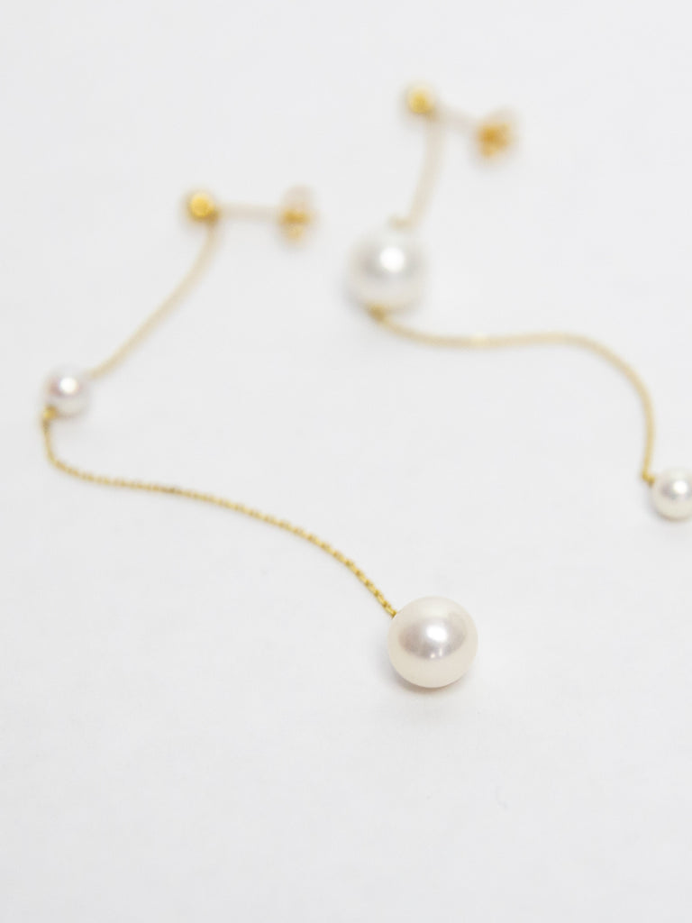 Double Pearls Chain Earrings - Yellow Gold