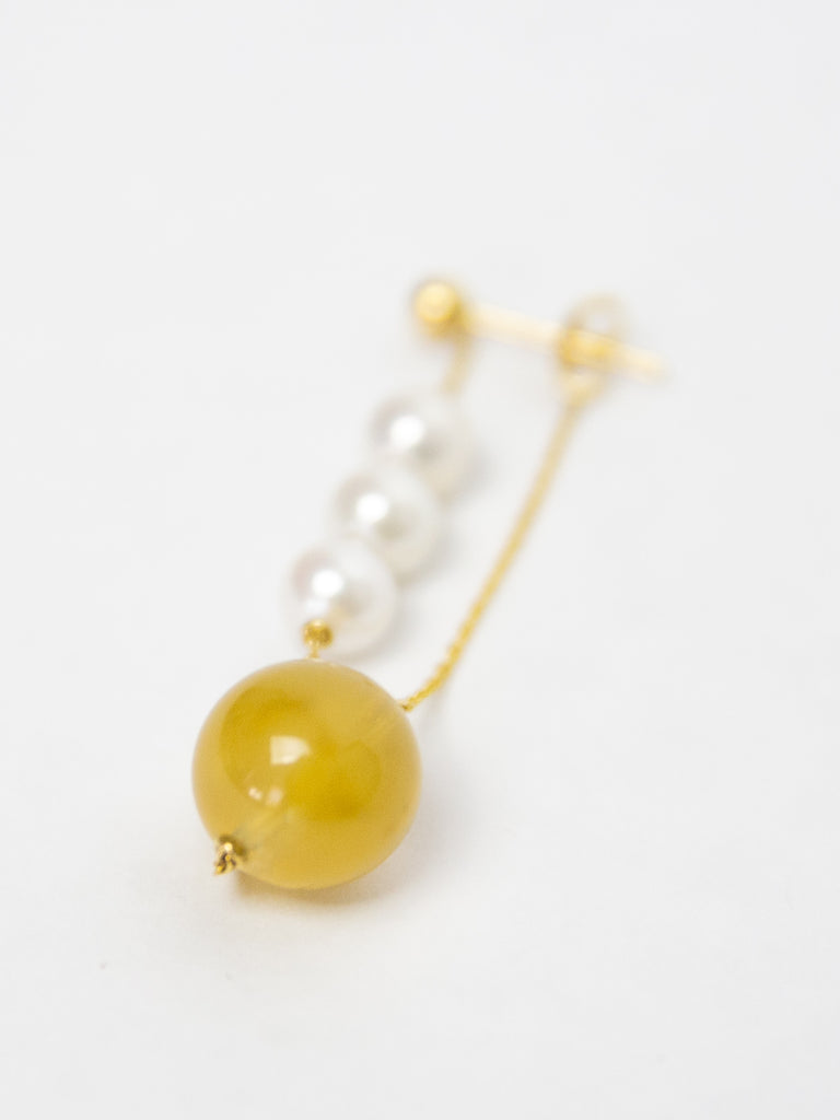 Winter Earring Single - Yellow Quartz and Yellow Gold