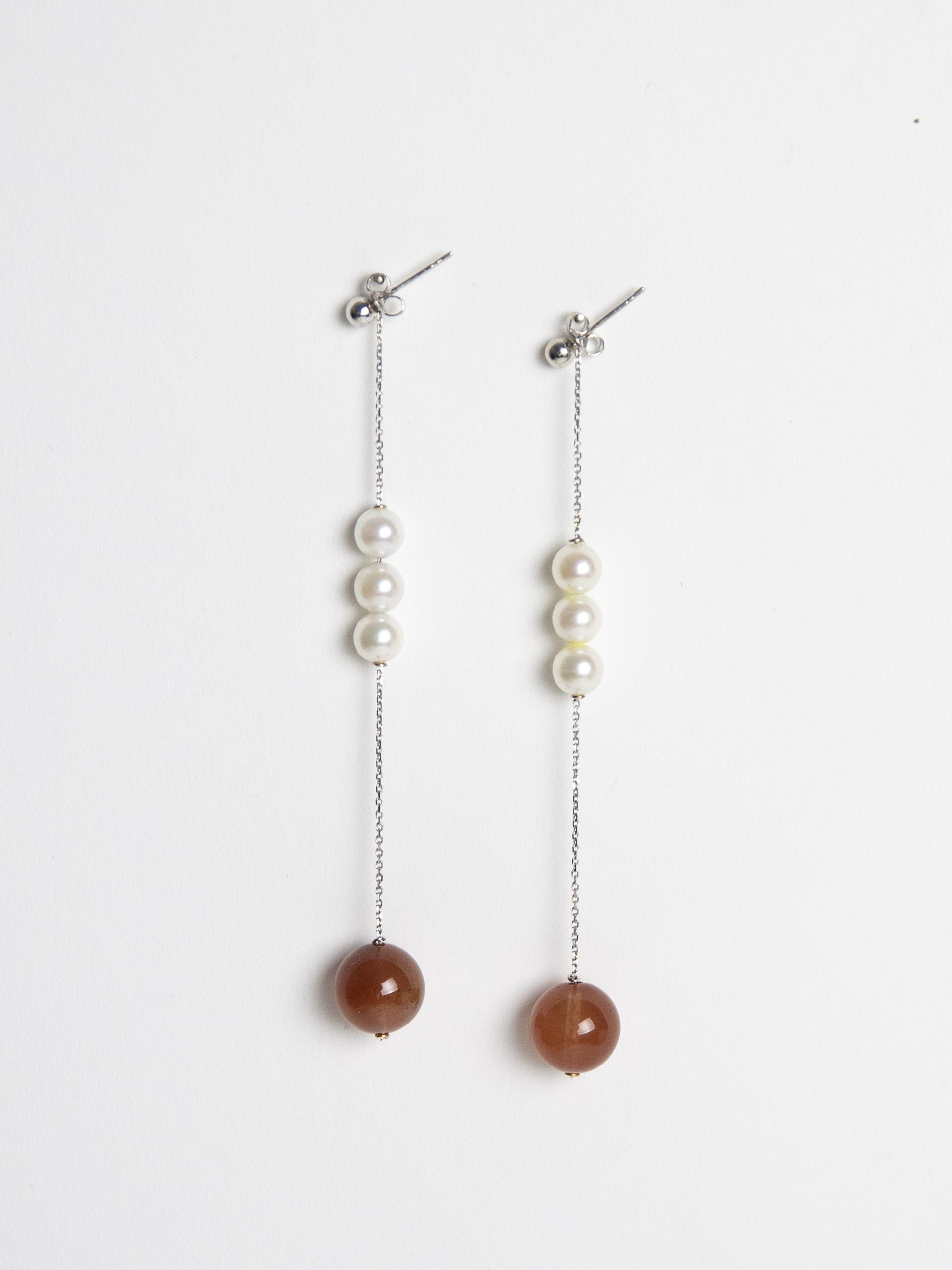 Trio Freshwater Pearl Earring Set with Red Quartz - White Gold