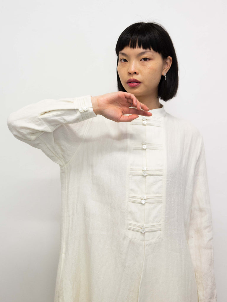 Knotted Button Mandarin Collar Shirt Dress