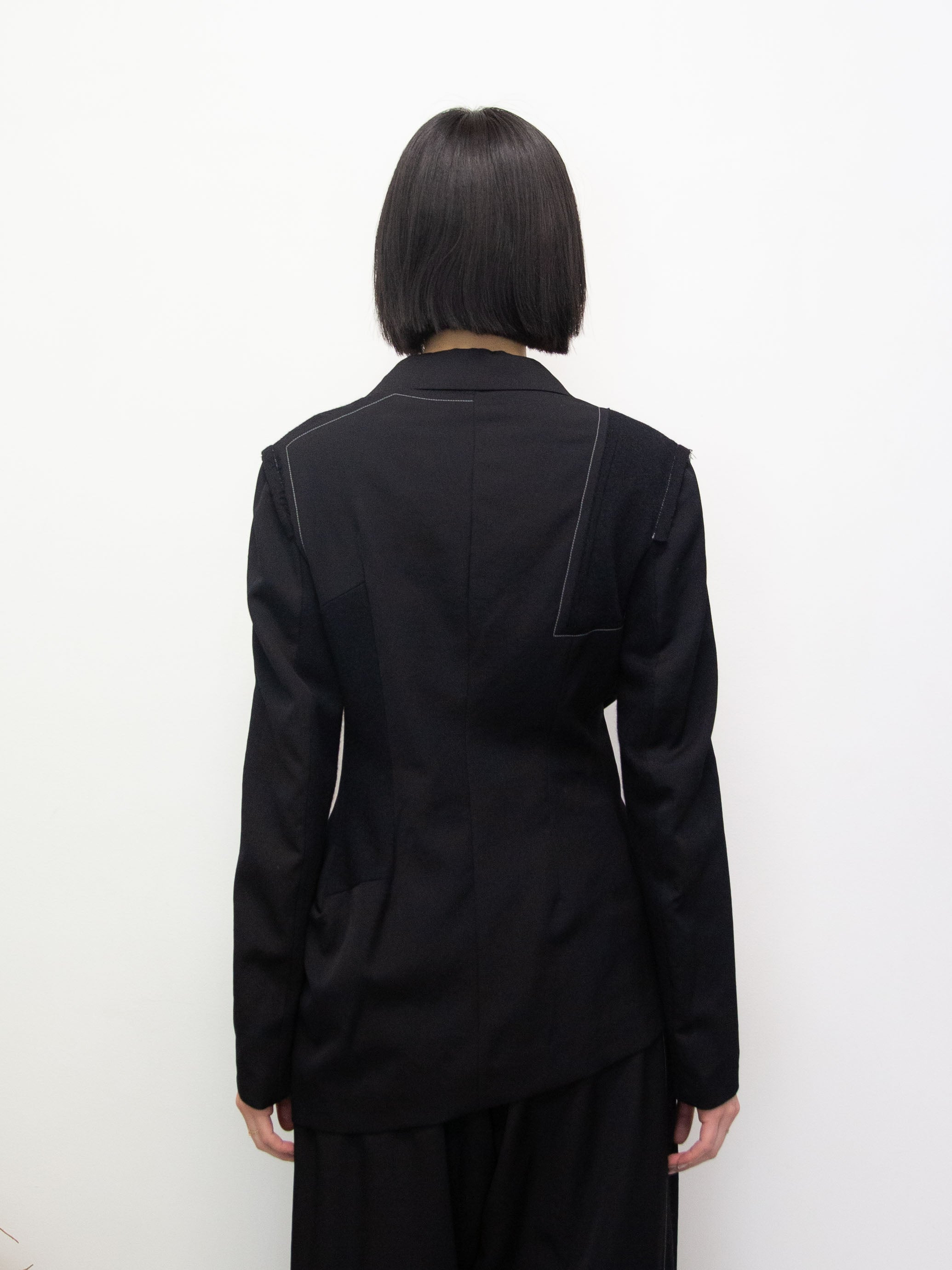 Y's Asymmetric Cut and Sewn Panel Jacket