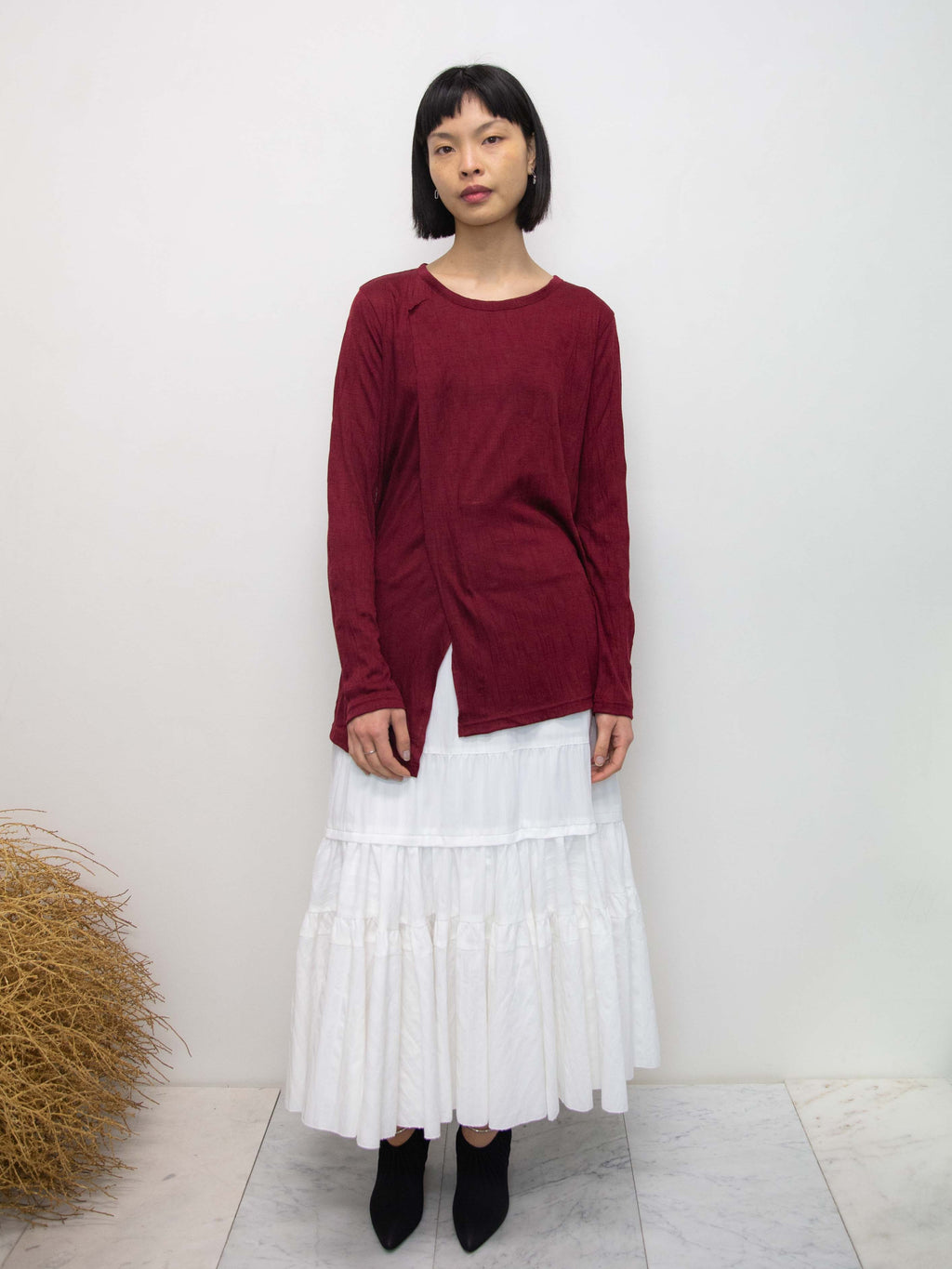 Crinkled Layer Wool Jersey Top - Bordeaux