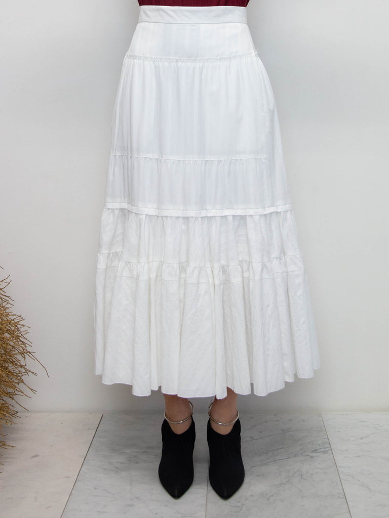Tiered Ruffle Skirt - White
