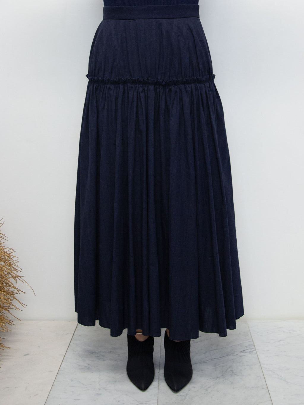 Front Tier Ruffle Skirt - Navy