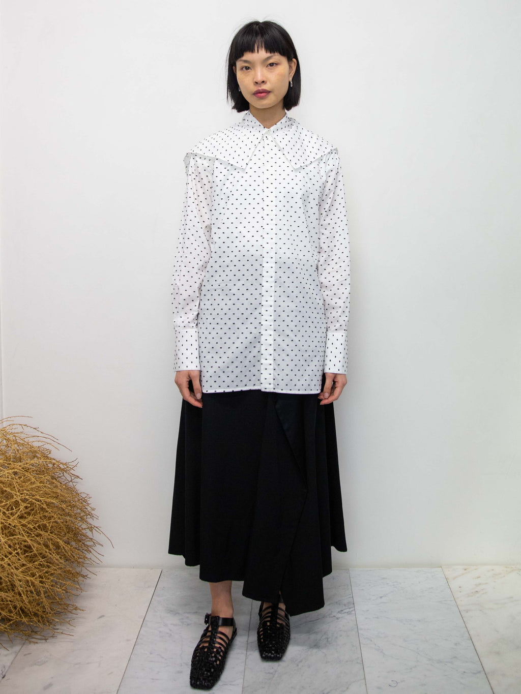 Polka Dot Big Collar Shirt - White
