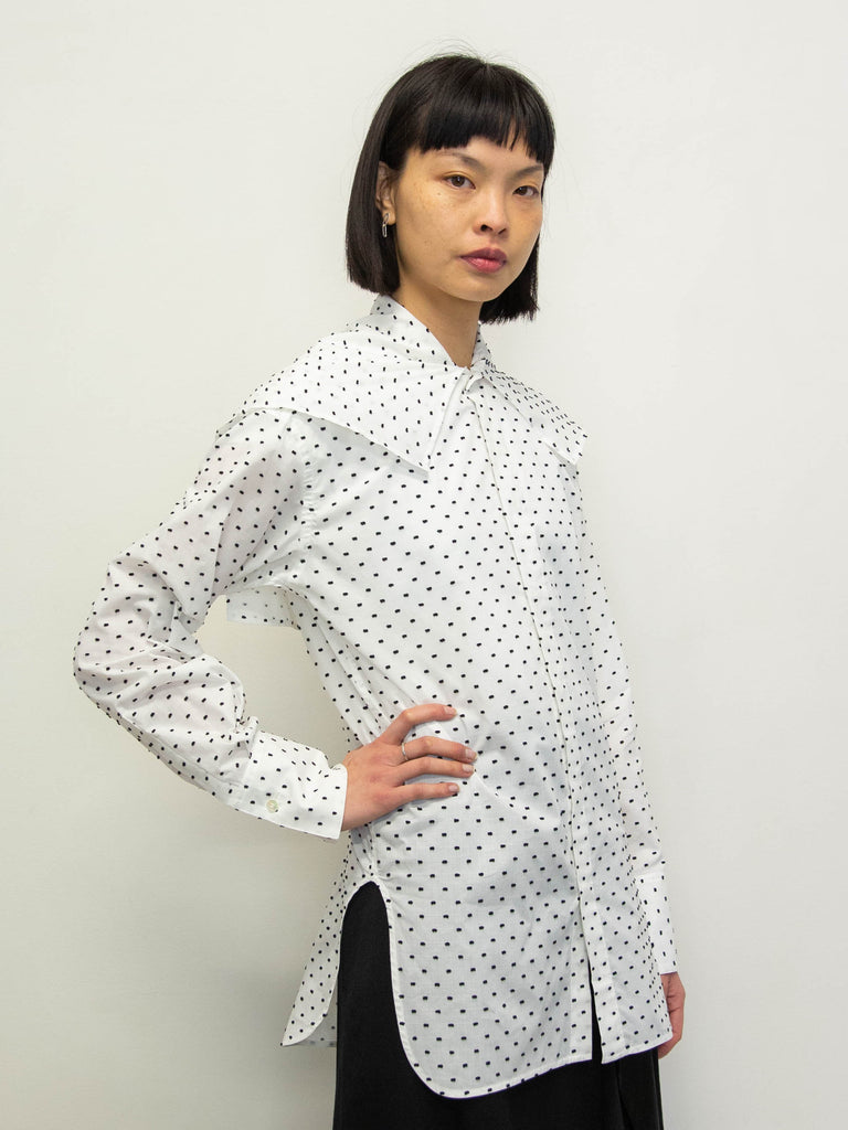 Y's Polka Dot Big Collar Shirt - White