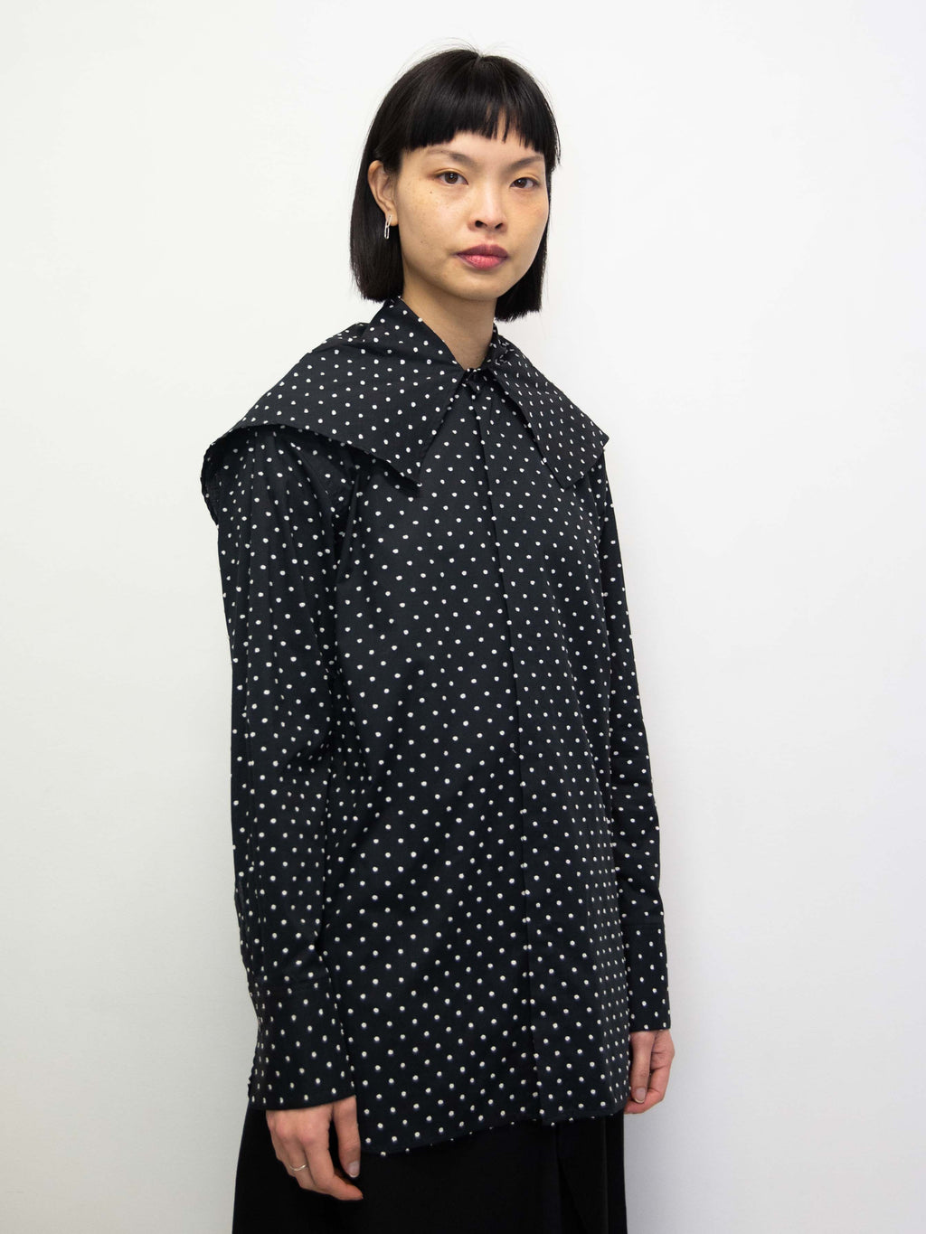 Polka Dot Big Collar Shirt - Black