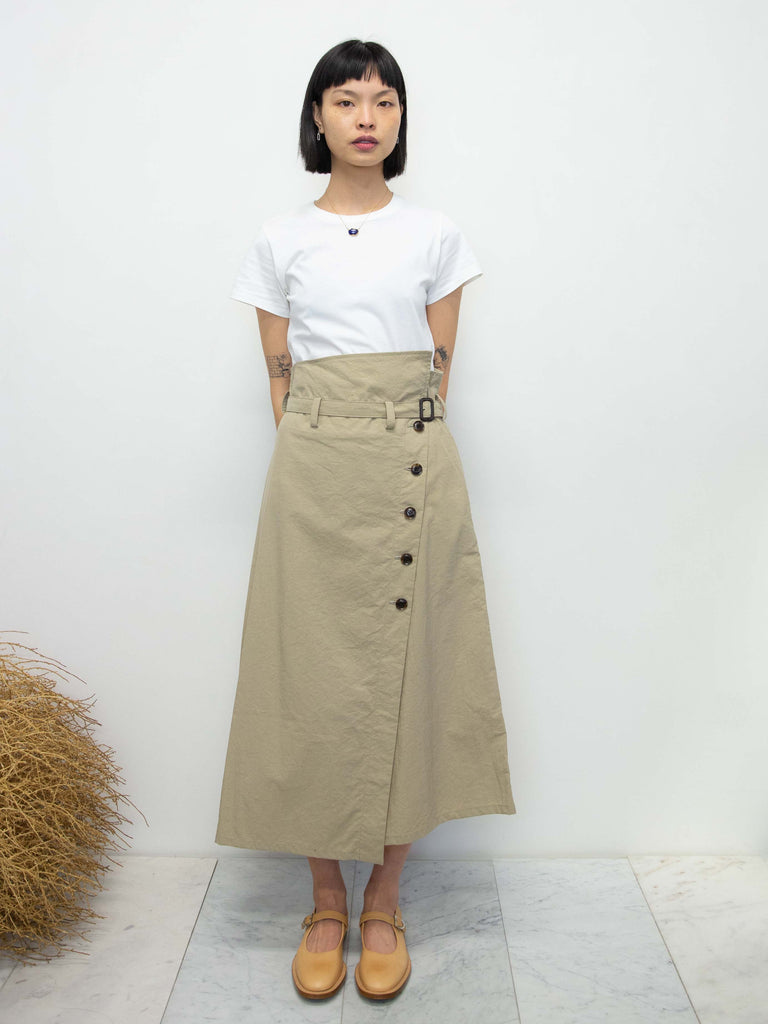 Belted Button Wrap Skirt