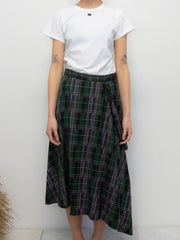 Plaid Slant Flare Skirt - Green