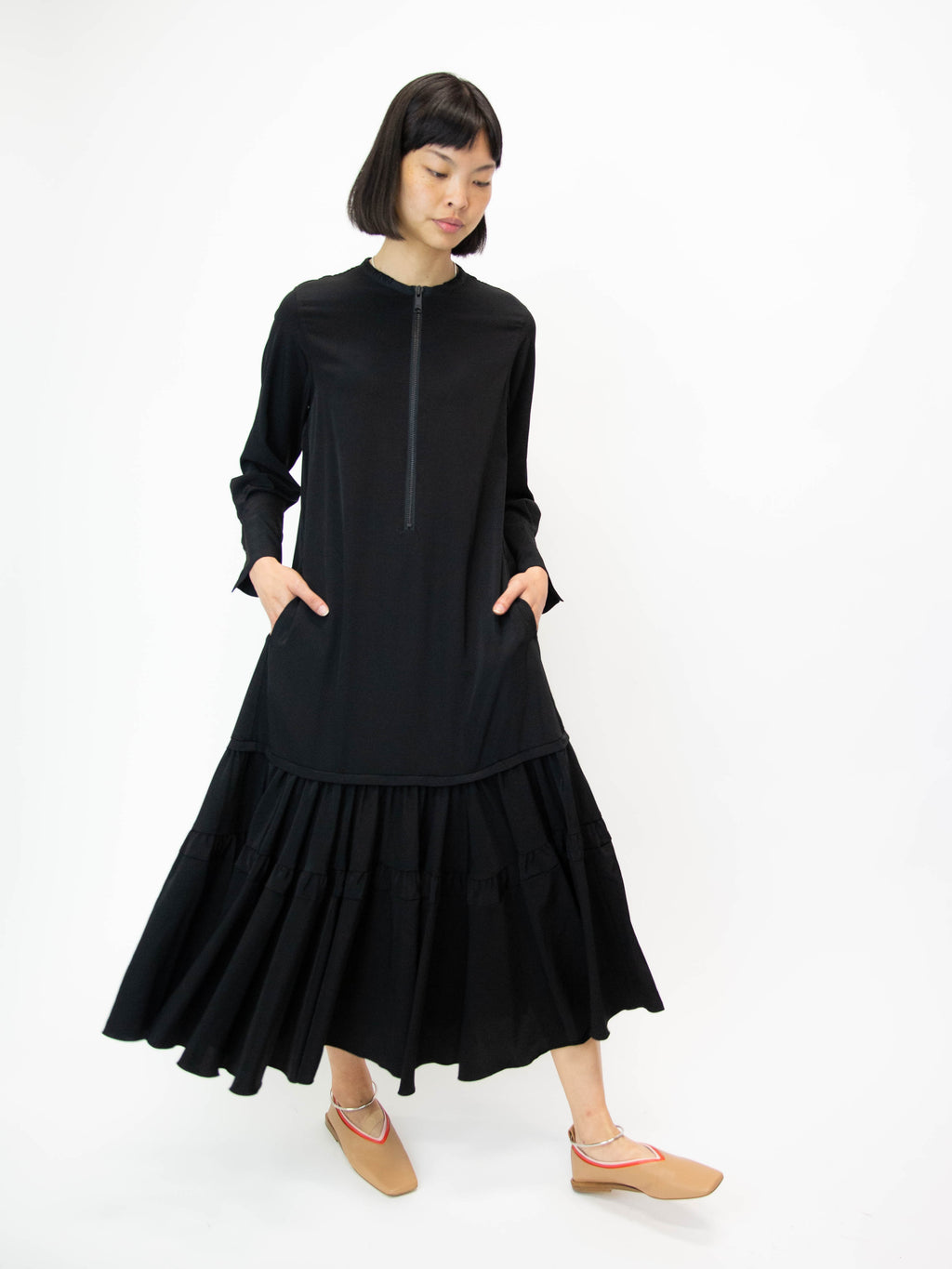 Ruffle Skirt Dress - Black